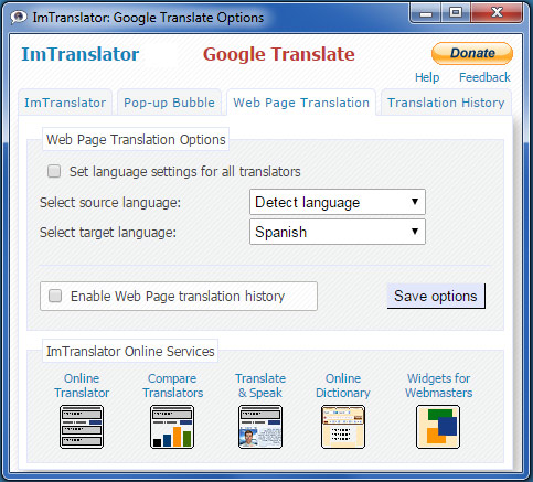 Webpage Translation Options