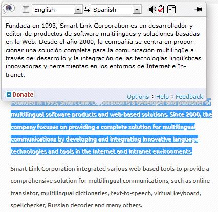 Pop-up Bubble Translate