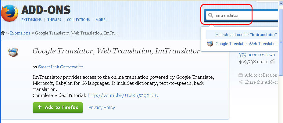 Download ImTranslator for Firefox | ImTranslator