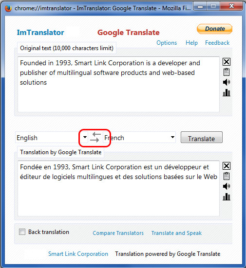 Google Translate Switch languages