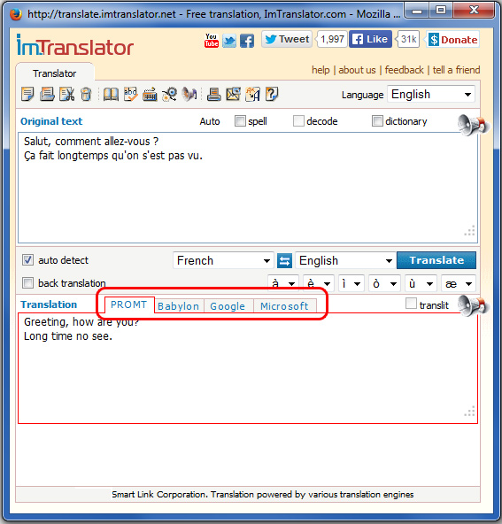 ImTranslator choose providers
