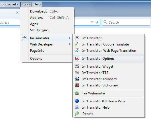ImTranslator Options Tools menu