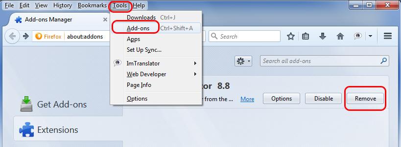 Remove ImTranslator from Firefox