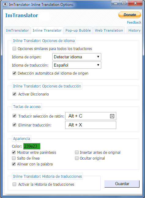 ImTranslator Options Spanish