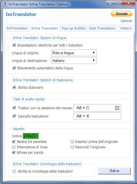 ImTranslator Options Italian