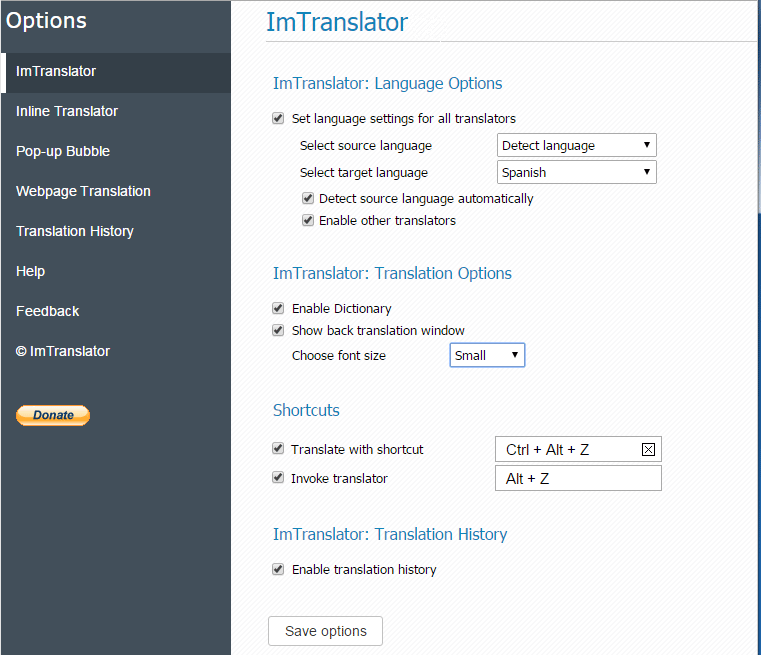 ImTranslator-Options