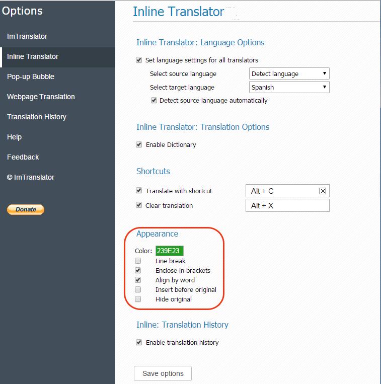 Inline-Translator-Appearance