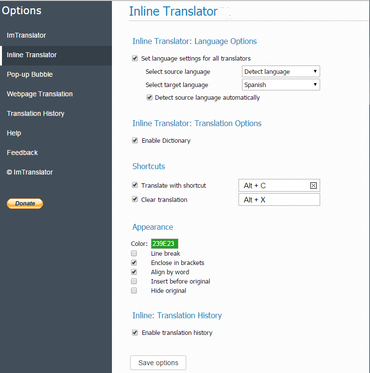 Inline-Translator-Options