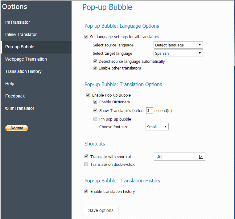 Pop-up-Bubble-options