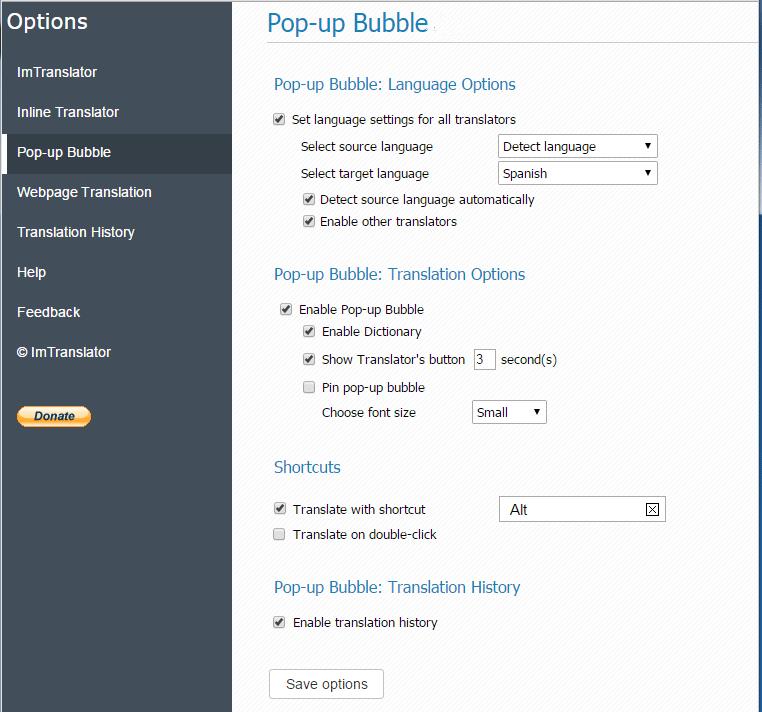 Pop-up-Bubble-options