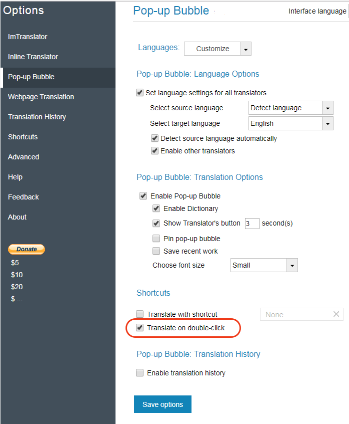 Translate on Double-click | ImTranslator