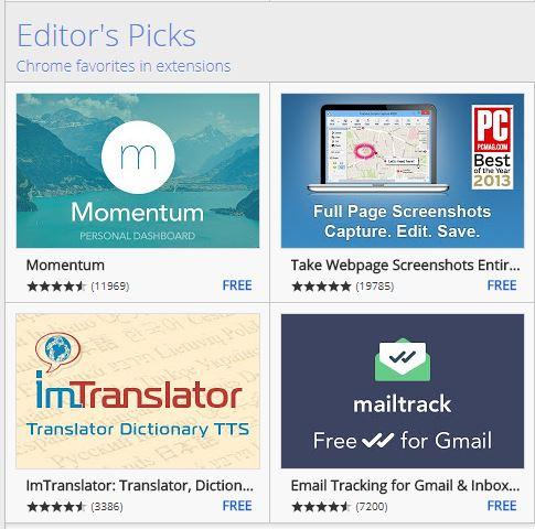 Chrome favorites extentions