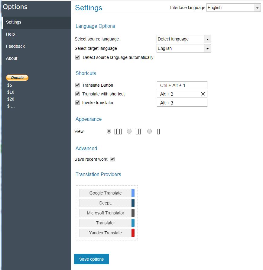 Translations-Comparison-Options